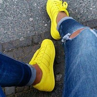 Adidas Shell-toe Sneakers Sport Shoes Pure Color Flats