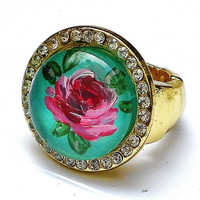 Romantic Rose Ring Painted Boho Chic Victorian Jewelry FREE SHIPPING