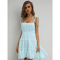 Missord Knot Straps Frill Trim Cami Dress