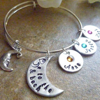 Love you to the moon & back bracelet Personalized Moon birthstone Bracelet Expandable Hand stamped Jewelry