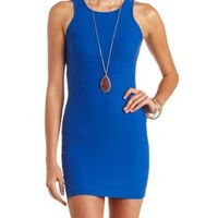 Racer Front Cut-Out Bodycon Dress by Charlotte Russe - Cobalt