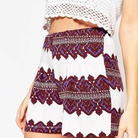 ASOS Pleated Culotte Short in Morrocan Border Print