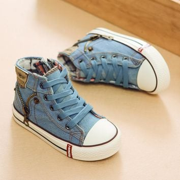 2017 Autumn Expert Skill Children Casual Shoes Boys Girls Sport Shoes Breathable Denim Sneakers Kids Canvas Shoes Baby Boots