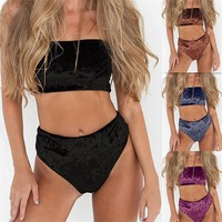 bikinis women 2017 New Sexy 1 Set Women Velvet Regular Bikini Set  Padded Bra Swimsuit Bathing Suit Swimwear Beach