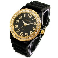 Geneva Black Silicone Ceramic Style Wrist Watch Surrounded with Gold Trim and Sparkly Rhinestones