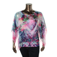 Style & Co. Womens Petites Printed Lined Blouse