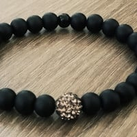 Men's Bracelet-Grey shamballa frosted black glass Beaded bracelet- Man Jewelry