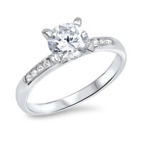 925 Sterling Silver CZ Round Simulated Diamond Engagement Ring 7MM