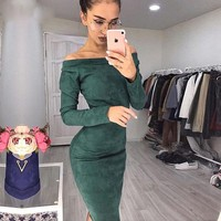 Suede Long Sleeve Off Shoulder Women Mid-calf Dress Autumn Winter Female Sexy Bodycon New Year Party Dresses designer clothes