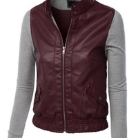 LE3NO Womens Zip Up Faux Leather Moto Jacket with Hoodie