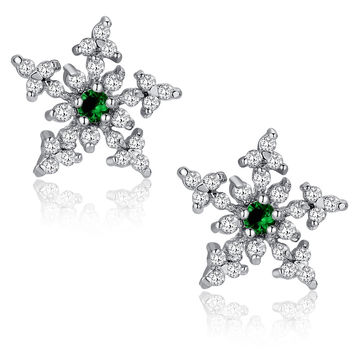 Star Snowflake Green Cubic Zirconia Stud Earrings