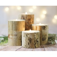 4 Log Candle Holders, Rustic Centerpiece