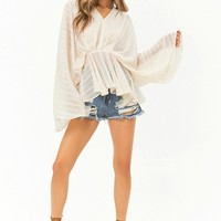 Sheer Textured Striped Peasant Top