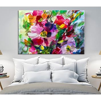 Oil Painting Bright Flowers Canvas Print Impressionism Wall Art Colorful Floral Wall Decor