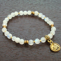 Moonstone Shakti Mala Bracelet - Moonstone & Gold or Silver Om Chakra Bracelet - Yoga, Buddhist, Meditation, Prayer Beads, Jewelry