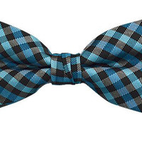 Blue Checkered Banded Bow Tie