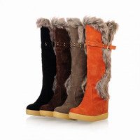 Snow boots New fashion sexy college style Autumn&Winter  Ladies Warm Flat heel Fur lining Suede over the knee High Faux knight cotton boots = 1930561092