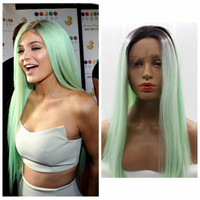 mint green ombre wig 18-26 inch