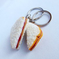 peanut butter and jelly best friend key chains bff pb and j polymer clay strawberry jam sandwich halves