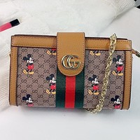 GUCCI & Disney New fashion stripe more letter print leather chain shoulder bag handbag crossbody bag Brown
