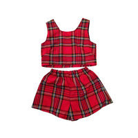 Red London Tartan Plaid Shorts Two Piece Co-Ord