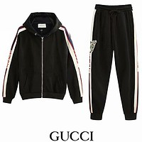 Gucci Popular Women Men Casual Letter Cat Head Print Long Sleeve Hooded Zipper Cardigan Coat Trousers Set Two-Piece Sportswear I-GQHY-DLSX