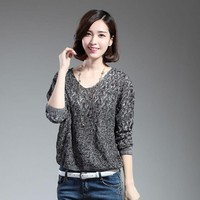 Winter Women Long batSleeve Casual Sweaters and Pullovers Female Lover Trendy Solid Pull Femme Best Knitted Sweater