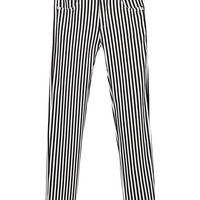 Black and White Striped Skinny Pants