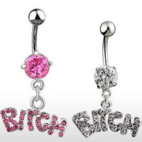 M-TARA 1PC Bitch Sexy Crystal Surgical Button Belly Ring Jewelry Navel Bar Body Piercing Jewelry = 4804841028