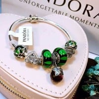 Pandora Women Fashion Crystal Plated Bracelet Jewelry 925 Sterling Silver Inspirationa Green