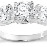 Sterling Silver 3-Stone Cubic Zirconia Ring: Jewelry: Amazon.com