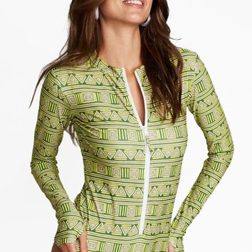 Lucia Zip Up Rashguard Bodysuit - Green Vineyard Print