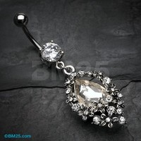 Grand Flower Cluster Sparkle Belly Button Ring