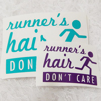 3.5x5 Inch Large Runner's Hair Don't Care Athletic Graphic Permanent Vinyl Decal/Bumper Sticker