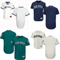 Cream blue white cream Blank Authentic Jersey , Men's Seattle Mariners Flexbase Collection Jersey