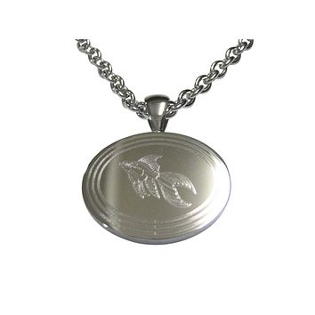 Silver Toned Etched Oval Large Tropical Fish Pendant Necklace