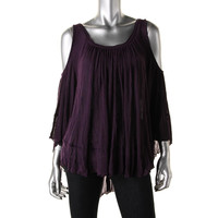 Free People Womens Knit Cold Shoulder Blouse