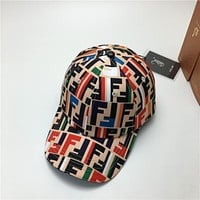 FENDI Summer Fashion Couple Colorful F Letter Sports Sun Hat Baseball Cap Hat
