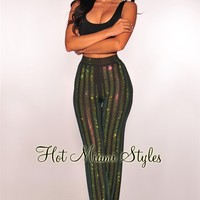 Black Green Mermaid Studded Rhinestone Palazzo Pants