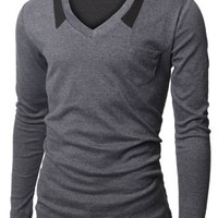 Doublju Mens V-neck T-shrits with Chest Pocket CHARCOAL (US-S)