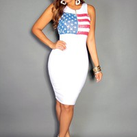 American Flag Print Sleeveless Bodycon Plus Size Midi Dress In White