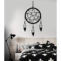 Vinyl Wall Decal Dreamcatcher Feathers Ethnic Style Bedroom Stickers Unique Gift (539ig)