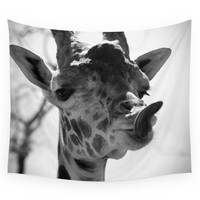 Society6 Giraffe Sticks Out Tongue Nature Photogr Wall Tapestry