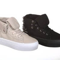 High Top Studded Spike Flatforms Sneaker (7.5, pale grey cot)