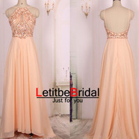 2015 Ball Gown Beaded Light Pink Chiffon Long Backless Sexy Prom Dresses Gown/Homecoming Dress/Party Dress/Formal Dress/Evening Dress/Custom