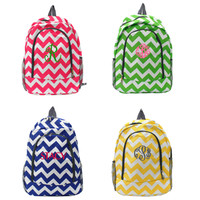 """Personalized Chevron 17"""" Backpack In Hot Pink, Blue, Yellow, and Green"""