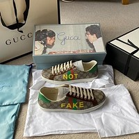 "GUCCI ""Fake / not"" printed sneaker"