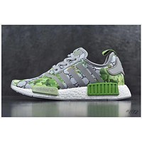 Gucci x Adidas NMD R_1 Boost GG Green Flower Fashion Casual Trending Sneakers G