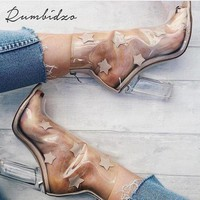 Women's Sandals 2017 NEW European Sexy Heels PVC Transparent Shoes Peep Toe Women Shoes Silver/Aprioct Plus Size 40