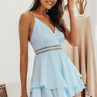 Orielle Blue Detailed Romper